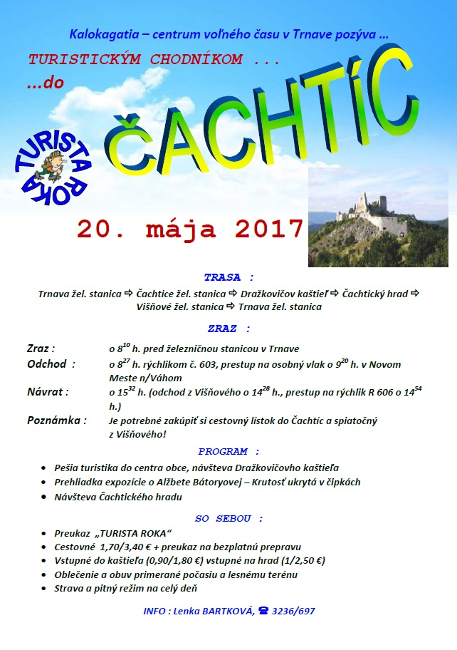 PLAGÁT turistika Čachtice
